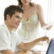 Man and woman working together in office room. — Stock Photo
