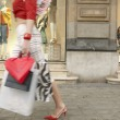 Young woman walking by a shop window, with shopping bags. — Stock Photo #21735757