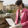 Young sophisticated woman using a laptop outdoors. — Stock Photo