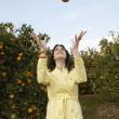 Young woman juggling oranges in an orange grove. - Stock Photo