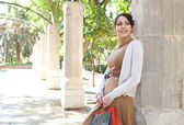 Attractive young woman holding her shopping bags — Stock Photo