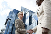 Two businessmen shaking hands in front of a glass modern building in the city. — Stock Photo