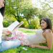 Two Indian girls spending time in the park — Stock Photo #21925169