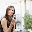 Portrait of a young attractive businesswoman using a cell phone — Stock Photo #21925919