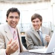 Two businessmen laughing while having a meeting — Stock Photo