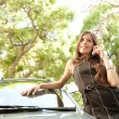 Attractive businesswoman leaning on a car in a tree lined street — Stock Photo