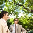 Stock Photo: Two businessmen having conversation while leaning on car