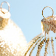 Pair of decorated christmas barballs ornaments — Foto Stock