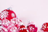 Still life of Christmas barballs on a pink background. — Stock Photo