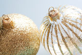 Pair of decorated christmas barballs ornaments — Stock Photo