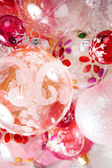 Bunch of different size and design christmas balls in various colors. — Stock Photo