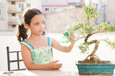 Young girl spraying water with a bottle onto a bonsai tree — Stock Photo