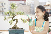 Portrait of a young girl watering a bonsai tree — Stock Photo