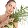 Young woman holding a palm tree leaf — Stock Photo