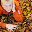 Boy with freckles laying down on leaves — Stock Photo #42509427