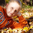 Boy with freckles laying down on leaves — Stock Photo #42509519