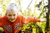 Boy play with football ball — Stok fotoğraf