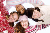 Four young and diverse friends — Stock Photo
