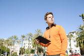 Businessman using a digital tablet — Stock Photo
