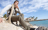 Smart man on a beach — Foto de Stock