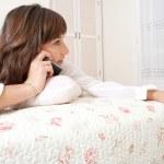 Woman having telephone conversation — Stock Photo