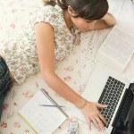estudiante que esté usando un ordenador portátil — Foto de Stock   #42534385