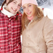 Girls enjoying winter day — Stock Photo