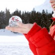 Woman holding a snow globe — Stock Photo #42539647