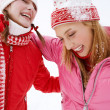 Two young women in winter outdoors — Stock Photo