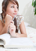 Woman reparing for exams — Stock Photo