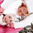 Girls  in snow mountains — Stock Photo #42540139