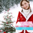 Girl celebrating Xmas — Stock Photo