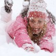 Young woman falling down in the snow — Stock Photo