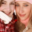 Girls friends in winter — Stock Photo