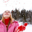 Woman in the snow mountains — Stock Photo #42540693
