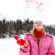 Woman in the snow mountains — Stock Photo #42540955