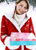 Girl celebrating Xmas — Stockfoto