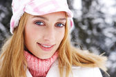 Woman in  snowed mountains — Stock Photo