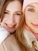 Girls  in snow mountains — Stok fotoğraf