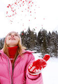 Woman in the snow mountains — Stock Photo