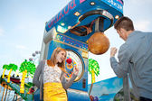 Couple visiting  attractions park — Stock Photo