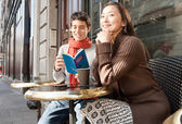 Couple sitting at  cafe — Foto Stock