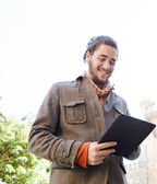 Man using  tablet pad — Stock Photo
