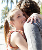 Couple   hugging while — Stock Photo