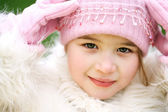 Young girl in , woolly hat — Stock Photo
