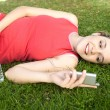 Young woman laying down — Stock Photo