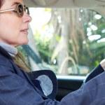 Woman sitting on car, — Stock Photo