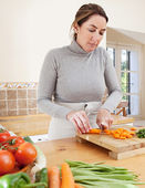 Woman  cooking vegetables — Stock Photo