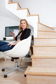 Businesswoman working from home office — Stock Photo