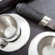 Silver set of coffee for two — Stock Photo #48297581